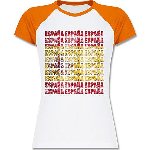 EM 2016 - Frankreich - Espana Vintage Typo - zweifarbiges Baseballshirt / Raglan T-Shirt für Damen Weiß/Orange