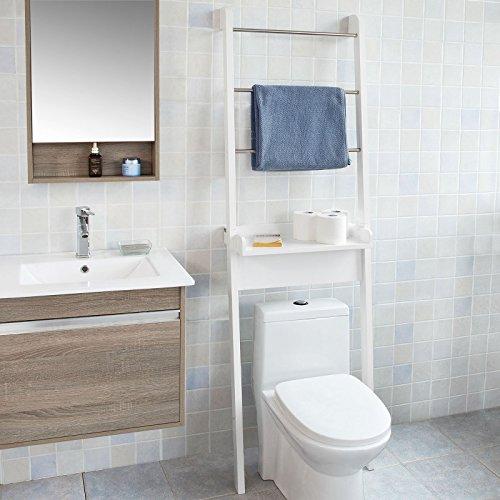 SoBuy® Mensola Scala,Mobile da bagno salvaspazio,Scaffale da bagno,bianco,FRG118-W,IT
