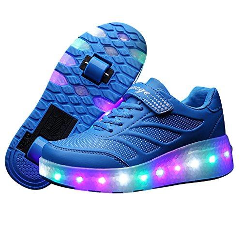 SGoodshoes Led Schuhe mit Rollen Skateboard Led Leuchtende Wheelies Kinderschuhe Rollenschuhe 2 Rädern Sport Turnschuhe Lichter 7 Farbwechsel Sneaker ohne USB Jungs Mädchen Damen Herren Blau zwei Räder