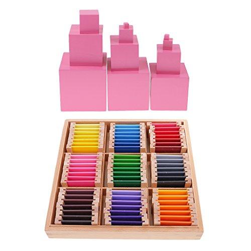 Puzzle Farbkarte (Sharplace Montessori Farben-Lernspielzeug für Kinder, 63 Farben in Holzbox ( 9 Farben, 7-Stufe)+ Pink Tower , Color Sensor)