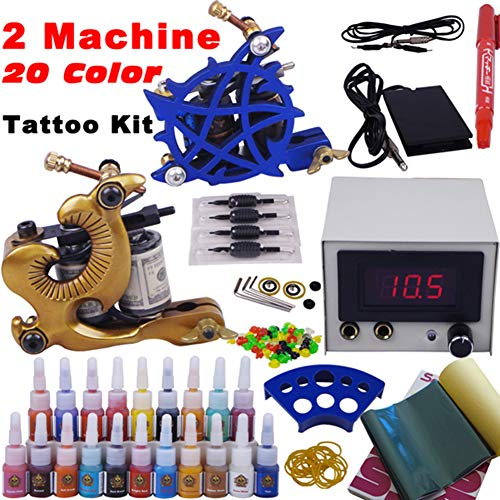 Komplett Tattoo Maschine Set 2 Profi Tattoo Maschine Guns Netzteil Fußpedal Einweg und Aluminum Griffstück Tattoo Übungshaut Tipps
