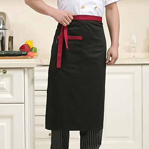 Lqchl Restaurant Küchenchef Hotel Uniformen Benutzerdefinierte Körper Körper Halb Schwarze Küche Schürze Schürze Drei Optionalen Farben, Schwarz (Küchenchef Uniform)