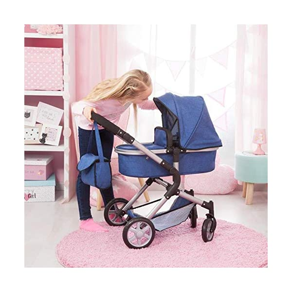 Bayer Design 18135AA City Neo Doll's Pram with Bag and Underneath Shopping Basket, Blue Bayer Design dimension: 82 x 38.5 x 79 cm suitable for dolls up to 52 cm adjustable handle height: 59 - 79 cm 8