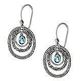 Silverly Femmes Argent 925 Topaze Bleu Ovale Swirl Filagree Pendants Boucles d'oreilles