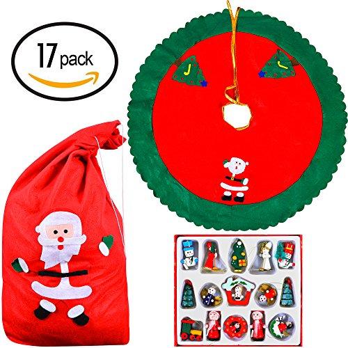 17 Ornamentos Colgantes Navideños para Árbol de Navidad – Bolsa de Santa Claus, Decoraciones y Falda para Árbol – El Regalo de Accesorios Decorativos Ideal para tu Hogar y Amigos