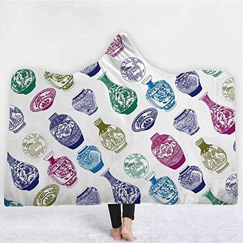 Westtreg coperta in cotone stile occidentale coperta in cotone invernale classico caldo con cappuccio coperta in microfibra coperta per adulti kids-130cm (h) x150cm (w)