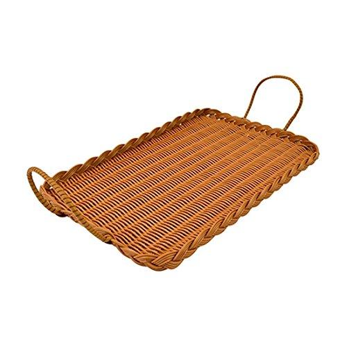 Bakers Fenster polywicker Tablett mit Griffen, Brot, Kuchen, Gebäck Display oder Servieren, Plastik, Hellbraun, 1 Tray