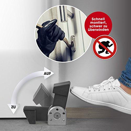 EASYmaxx Security Türblocker | schwarz/silber | Einbruchschutz Tür | Türstopper |