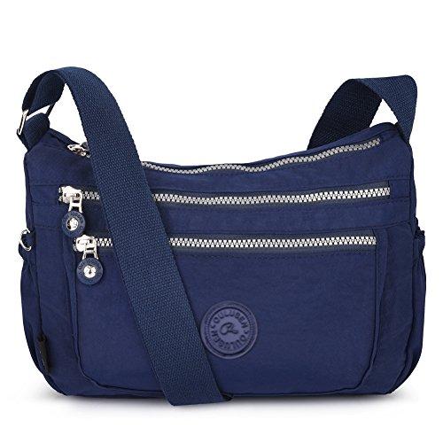 Vbiger le donne casuale multi tasca Borsa a tracolla impermeabile Blu 3