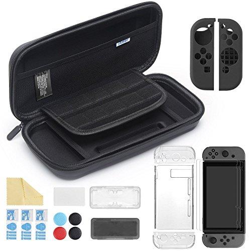iAmer 11 en 1 Accesorios para Nintendo Switch, con Funda Switch+Funda Transparente+3 Protector de pantalla+Funda de Silicona para Joy-Con+Joy-Con Pulgar Grips+2 Estuche De Juegos+Paño de limpieza