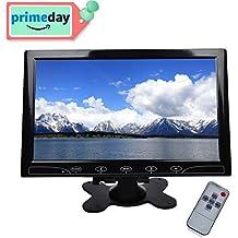 Monitor de seguridad en color Toguard de 10,1 pulgadas con tecnología LCD TFT ultra-plana, 2 entradas de vídeo, conexión a PC, audio, entradas VGA, HDMI, AV, con mando a distancia y altavoz Toguard incorporado, gran ángulo de visionado