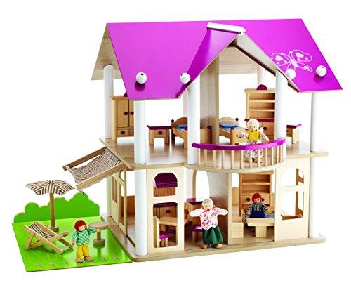 Eichhorn 100002513 - Villa, 27-teilig, inklusive Möbeln und 4 Puppen - 50x75x55cm - unmontiert