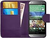 G-Shield HTC One Mini 2 Hülle mit Kartenfach Ledertasche Klapphülle PU Leder Schutzhülle Tasche Flip Case Cover Etui Handyhülle mit Displayschutzfolie und Stylus - Lila
