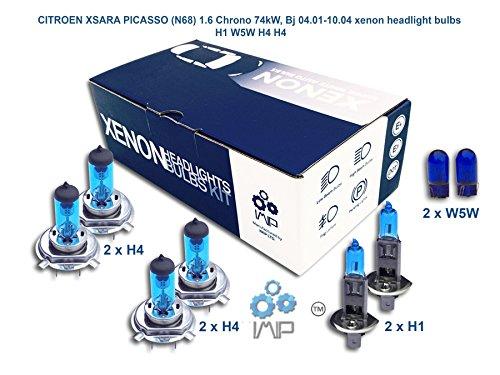 IMIP - CITROEN XSARA PICASSO (N68) 1.6 Chrono | Kit d'ampoules de phares au Xenon Super Blanc H1 W5W H4 H4