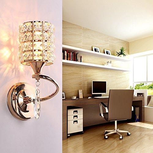 Nclon Moderne Ruby Wandleuchte,E27 Lampenfassung Kristall Wandlampe Wohnzimmer Bett Wohnzimmer Leuchtmittel Ohne glühlampe 10 * 26cm-B-Gold (Appliance Glühlampe Lampe)