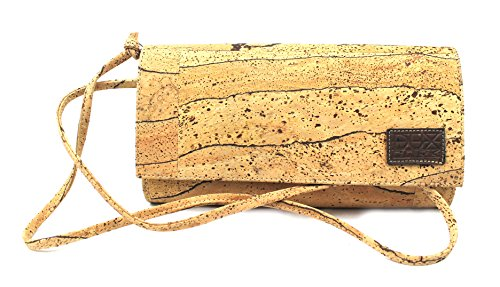 VEGAN CLUTCH BAG FOR WOMAN with STRAP Option by Dux Cork GENUINE PORTUGUESE PREMIUM Cork Fabric Leather Riscas
