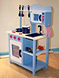 Wooden Large Blue Kitchen Cooking Role Play Pretend Toy Cooker Oven Utensils Sink Pan Kids Childrens Set