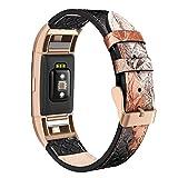 Cuir véritable Bracelet de montre de remplacement Band pour Fitbit Charge 2Peau de serpent Femme Homme réglable Lug Sports Bracelet Fitness avec connecteurs en métal Rose