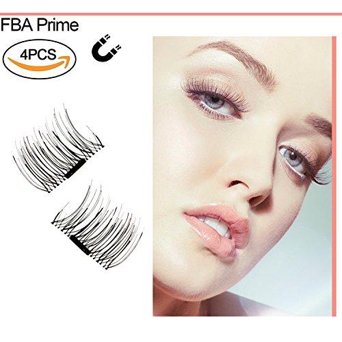 1 Paare / 4 pcs Neu Magnetische falsche Wimpern Ultra Thin 3D-Fiber wiederverwendbare Beste gef?lschte Wimpern Extension f¨¹r die Nat¨¹rliche, Perfekt f¨¹r tiefliegende Augen & runde Augen