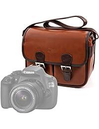 DURAGADGET Bolsa profesional marrón con compartimentos para cámara Canon EOS 1200D , EOS 1300D / Rebel T6 , EOS 750D , EOS 760D , EOS 7D Mark II , EOS 80D , EOS M3.