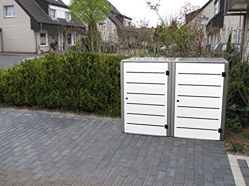 Mülltonnenbox Edelstahl, Modell Eleganza Line, 120 Liter, Zweierbox, in Weiß - 4