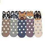 Mädchen Socken, Canvalite 5 Paar Cartoon Tier Socken mit Hund-Muster Geschenk für Weihnachten Karneval Freizeit