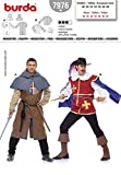 Burda para hombre patrón de costura para 7976 - mosquetero y páginas disfraz infantil de tamaños: 38-50