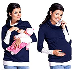 Bold N Elegant Women's Winterwear Hi Neck Maternity Sweatshirt Nursing Top Breastfeeding T-Shirt Full Sleeve Pregnancy Top Tee (XXL, Navy-White)