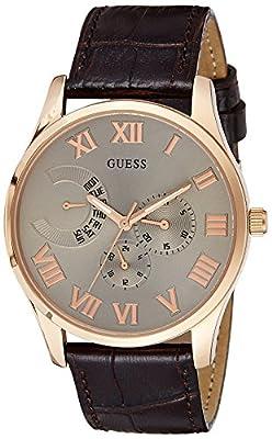 Guess hombre-reloj analógico de cuarzo cuero W0608G1
