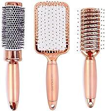 Lily England Haarbürsten Set – Luxus Haar Styling Set mit Haarbürste, Rundbürste, Skelettbürste in Rosegold – für dünnes & dickes Haar