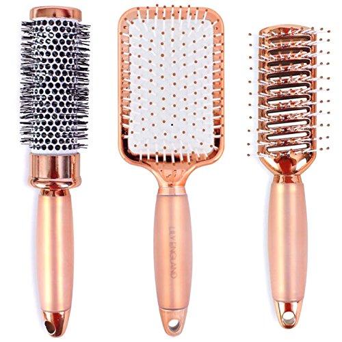 Rose Gold Haarbürsten Set. Enthält Fass-, Paddel- und Vent-Haarbürsten. Gut zum Richten, Styling und Detangling. Luxus, professionelle