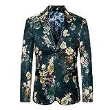 G WELL Herren Sakko Modern Blumenaufdruck Anzugjacke Lässig Blazer Smoking Slim Fit M