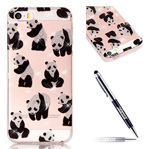 iPhone SE Hülle,iPhone 5S Hülle,iPhone SE 5 5S Glitzer Hülle,JAWSEU iPhone SE 5S 5 Transparent Silikon Hülle TPU Case Schutzhülle Silikon Crystal Case Durchsichtig,Glänzend Glitzer Kristall Luxus Blin Schön Panda