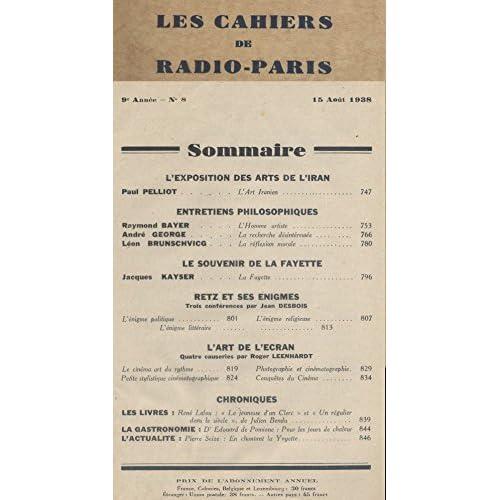 Les Cahiers de RADIO-PARIS N° 8 de 1938.