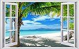 Palmen Meer Strand Beach Karibik Wandtattoo Wandsticker Wandaufkleber F0316 Größe 120 cm x 180 cm