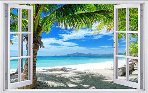 Palmen Meer Strand Beach Karibik Wandtattoo Wandsticker Wandaufkleber F0316 Größe 100 cm x 150 cm