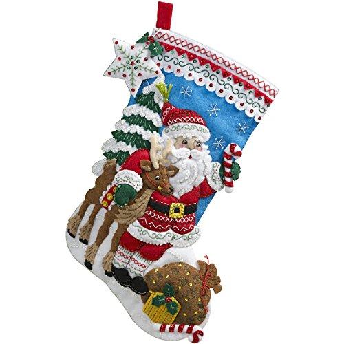 Bucilla Nordic Santa Weihnachtsstrumpf Filz Aufnäher kit-18-inch lang