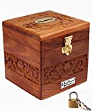 #1: Craftland Wooden Money/Piggy Bank, Money Box, Coin Box with Carved Design for Kids/Children. with Lock
