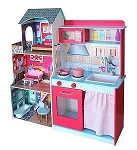 Cucina e casa delle bambole con mobili e accessoriata in legno 2in1 giochi e giocattoli - Amazon mobili cucina ...