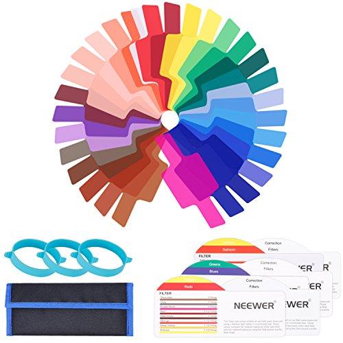 Neewer 30 Stück Farbfolien Speedlite Beleuchtungs Blitz Gele Farbfilter Set - Transparente Farbkorrektur Beleuchtung Film Kunststoffplatten mit DREI Befestigungs Band für Strobe Blitzlicht