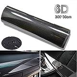 BangShou Autofolie Carbon Folie 6D Autofolie Vinyl Wrap DIY Auto Folie mit Luftkanäle Verdickt Dekorative 300 x 30cm (Schwarz 6D)