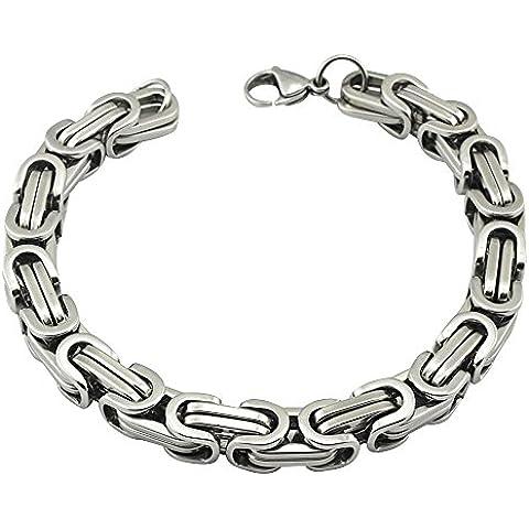 Contever® Acero Inoxidable Bracelet Chain Brazaletes Pulsera de Hombre Trenzada Color Plata Pulida 23 cm (L) x 0.8cm