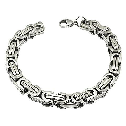 Contever® en acier inoxydable tressé Chain Bracelet Link Pour Hommes Couleur Argent poli 23 cm (L) x 0.8cm (W)