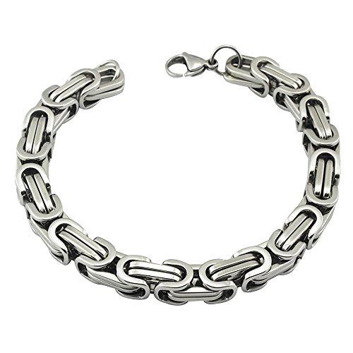 Contever® Edelstahl Armband Link Handgelenk Königskette Bracelet Punk Rock Herren Männlich Silber Farbe 23 cm (L) x 0.8cm (W)