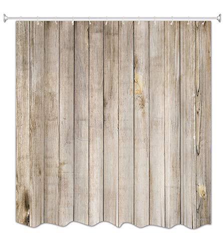 A.Monamour Hellbraun Vertikale Planken Boden Holz Textur Druck Antibakterielle Mehltau Resistent Wasserdicht Stoff Polyester Duschvorhang Für Bad 180X180 cm / 72X72 Zoll