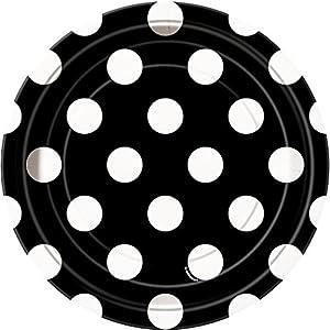 Unique Party- Paquete de 8 platos de papel a lunares, Color negro, 37454)