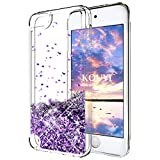 KOUYI iPod Touch 6 Hülle Glitzer, Luxus Fließen Flüssig Glitzer Mode 3D Bling Cute Dynamisch Clear Transparent Silikon Weich Flexible TPU Bumper Cover Beschützer für Apple iPod Touch 6 (Lila)