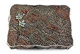 MEMORUM Grabmale Grabplatte, Grabstein, Grabkissen, Urnengrabstein, Liegegrabstein Modell Pure 40 x 30 x 5 cm Paradiso-Granit, Poliert inkl. Gravur (Bronze-Color-Ornament Rose 4)