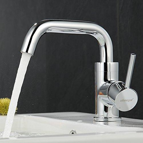 ubeegol 360° Drehbar Wasserhahn Bad Waschtischarmatur Waschbecken Armatur Chrom Einhebelmischer Mischbatterie Badezimmer Küche Spülbecken Küchenarmatur