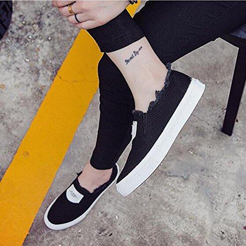 Dame Segeltuch beiläufige Schuhe Frühling und Sommer flache Schuhe einfache Art und Weise Black